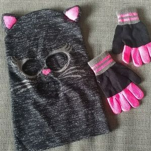Girls cat mask beanie and gloves costume